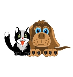 Dog and cat on white background vector image