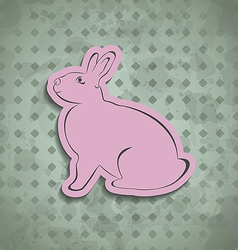 Easter happy vintage poster with pink bunny vector