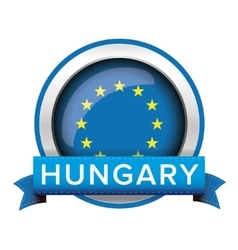 Eu flag button with hungary ribbon vector