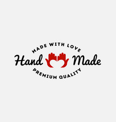 hand made label vector image