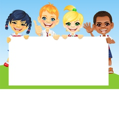 Happy smile kids and horizontal banner vector