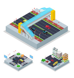 Isometric urban road with crosswalk and buildings vector