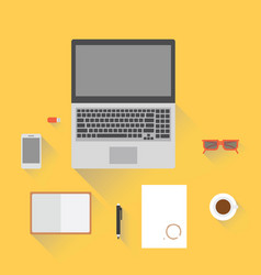 laptop smartphone notepad glasses and a cup of vector image