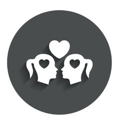 Lesbian couple sign icon Woman love woman vector image