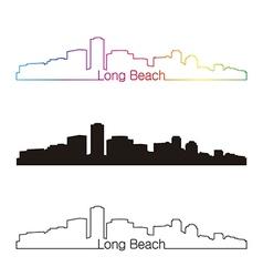 Long beach skyline linear style with rainbow vector
