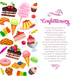 Page design with confectionery and sweets vector
