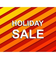 Red striped sale poster with holiday sale text vector