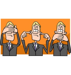 See hear speak no evil cartoon vector