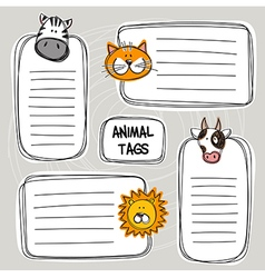 Set of hand drawn doodle tags with animals sketch vector