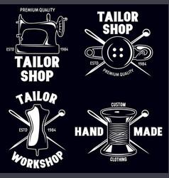 set of vintage tailor labels emblems and designed vector image