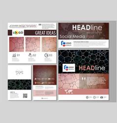 Social media posts set business design templates vector
