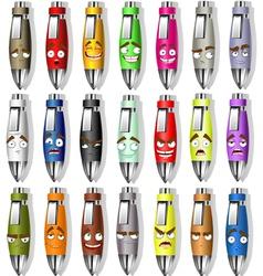 Souvenir smile face pens vector