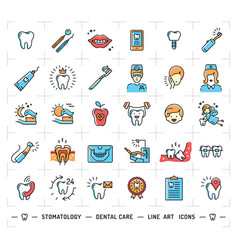 stomatology icon dental care logo colorful vector image vector image