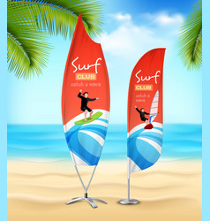 Surf club 2 advertsement beach banners vector