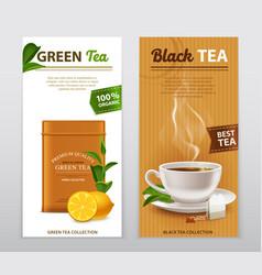 Tea realistic advertisement banners set vector