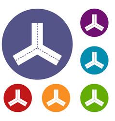 Three roads icons set vector