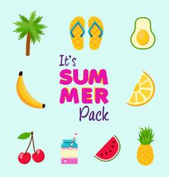 Tropical summer beach decoration icon set vector