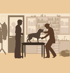 veterinary clinic toned vector image