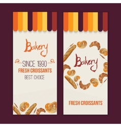watercolor hand drawn bakery set of banners vector image