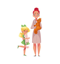 woman female veterinarian doctor vet and little vector image vector image