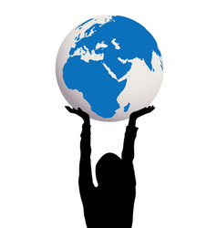 Woman silhouette holding earth globe in hands vector