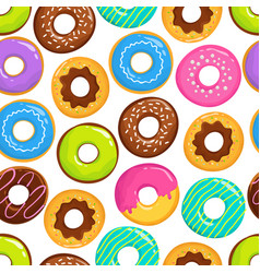 yummy glazed cakes chocolate donuts vector image