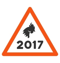2017 rooster warning flat icon vector