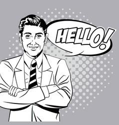 man hello talking style pop art vector image