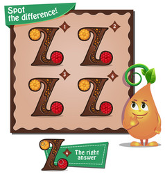 spot the difference letters z vector image