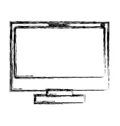 Monochrome blurred silhouette of lcd monitor vector