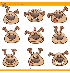 Dog emoticons cartoon set vector