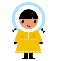 Cute eskimo girl isolated on white vector