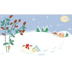 Christmas landscape briar presents starry night vector