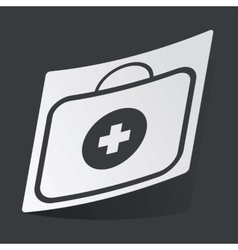 Monochrome first aid kit sticker vector