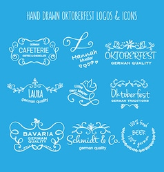 Collection of oktoberfest hand drawn logo vector