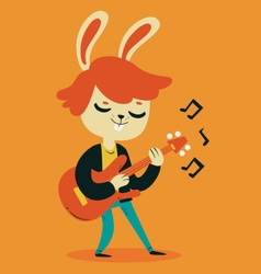 Cute bunny playing guitar vector