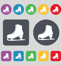 Ice skate icon sign a set of 12 colored buttons vector