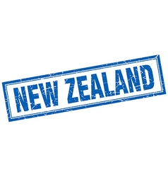 New zealand blue square grunge stamp on white vector