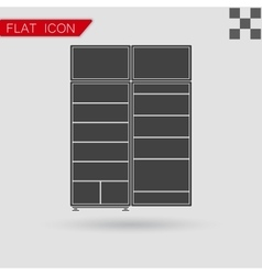 Black refrigerator icon flat style with red vector