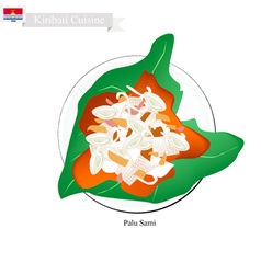 Palu sami or kiribati meat and coconut vector