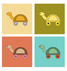 Assembly flat icons kids toy turtle vector