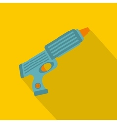 Blue plastic water gun icon flat style vector image