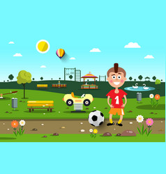 Boy with football ball in city park playground vector