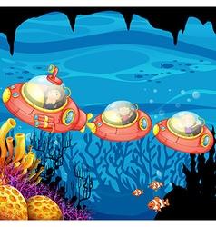 Children riding submarine underwater vector image vector image
