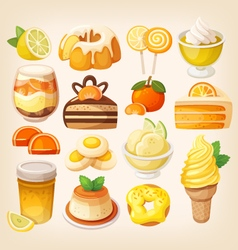 Colorful lemon and orange desserts vector