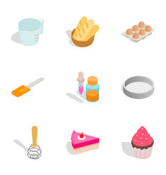 Confectionery icons isometric 3d style vector