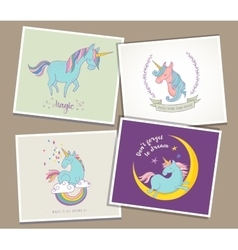 cute magic unicon and rainbow greeting cards vector image