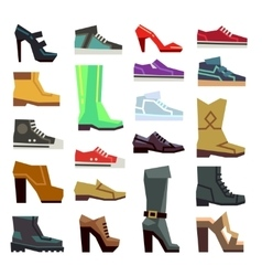 Different footwear casual shoes set vector