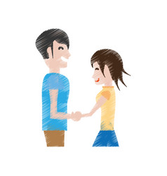 Drawing man and woman relation happy vector