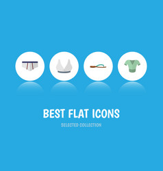 Flat icon garment set of beach sandal brasserie vector